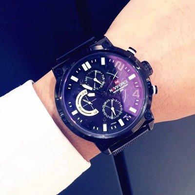 美國Naviforce 三眼指針米蘭織鋼錶帶手錶