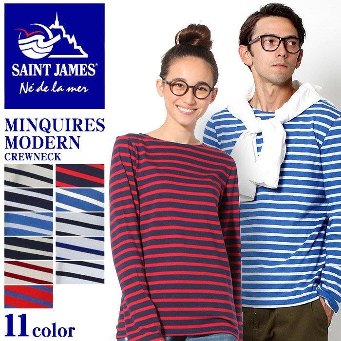 WaShiDa【9728/9858】SAINT JAMES 法國 MINQUIERS 條紋 長袖 T恤 - 現貨