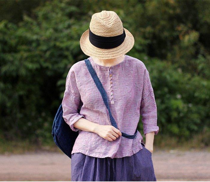 質樸的奢華♥文藝復古 高端純亞麻淡紫色格子圓領套頭寬松襯衫上衣