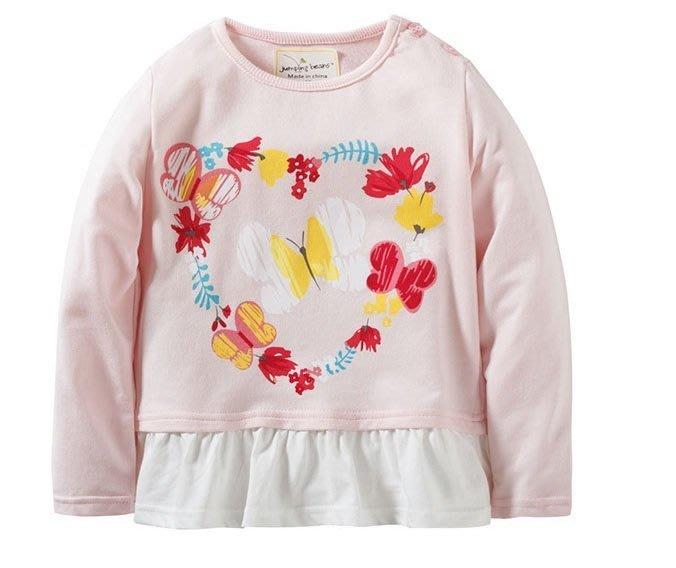 ☆草莓花園☆BM-2834 粉色愛心蝴蝶 女童長T 純棉童裝 歐美風兒童長袖衣服 純棉童T  童T恤
