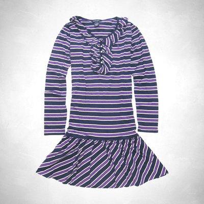 Polo Ralph Lauren 大女孩紫色條紋Ruffle長袖洋裝 (XL號) r1(16236) ~全新正品