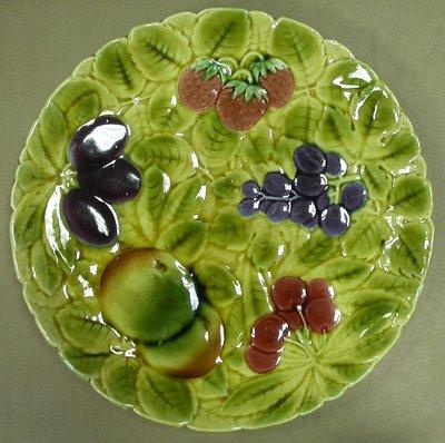 百年古董...法國 馬約利卡 水果瓷盤 19th