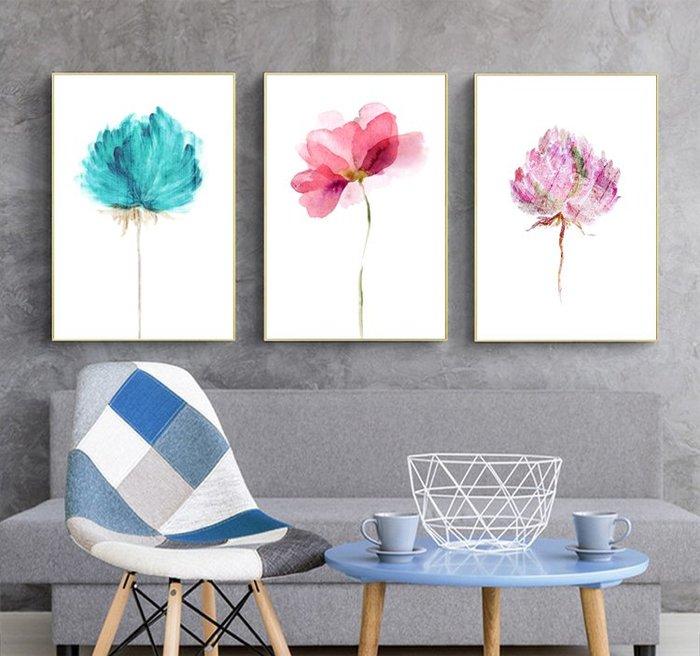 三幅一組油畫布  素雅花卉 畫芯/畫布/30X40☺暖暖屋☺傢居藝術館