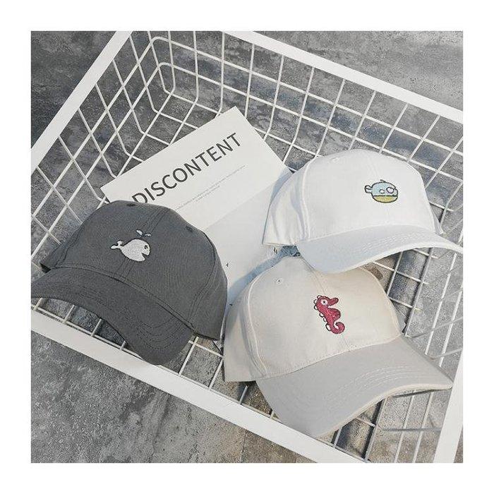 正韓帽子女新款刺繡棒球帽簡約可愛鴨舌帽潮