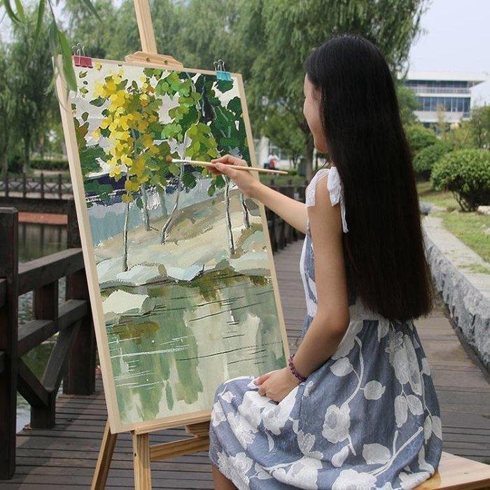 畫板畫架套裝木制支架式成人素描美術寫生油畫架黃鬆實木質1.75米igo