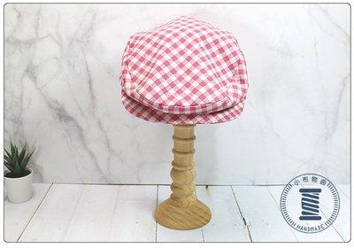 ✿小布物曲✿手作格紋狩獵帽 精巧手工車縫製作 進口布料質感超優-粉紅色