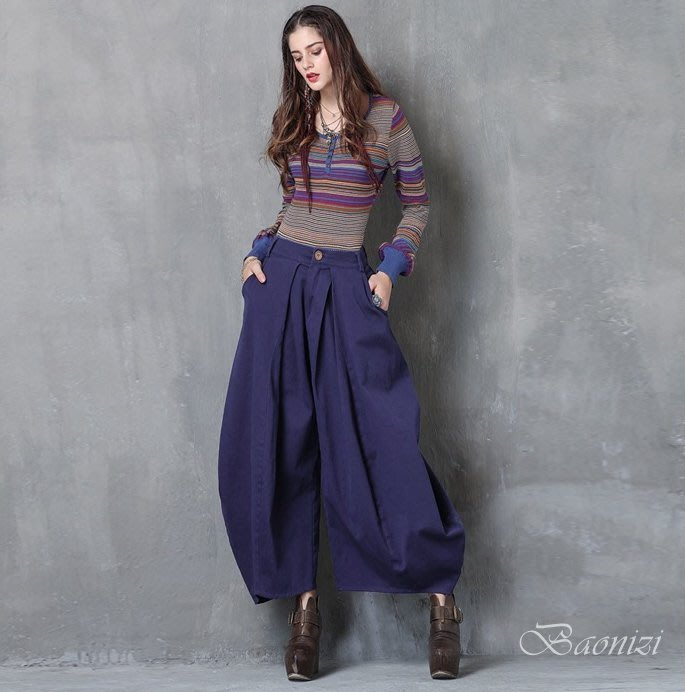 《現貨免運》素色復古時尚休閒闊腿庫 寬腿褲 大燈籠褲 X2212 Baonizi 寶妮子
