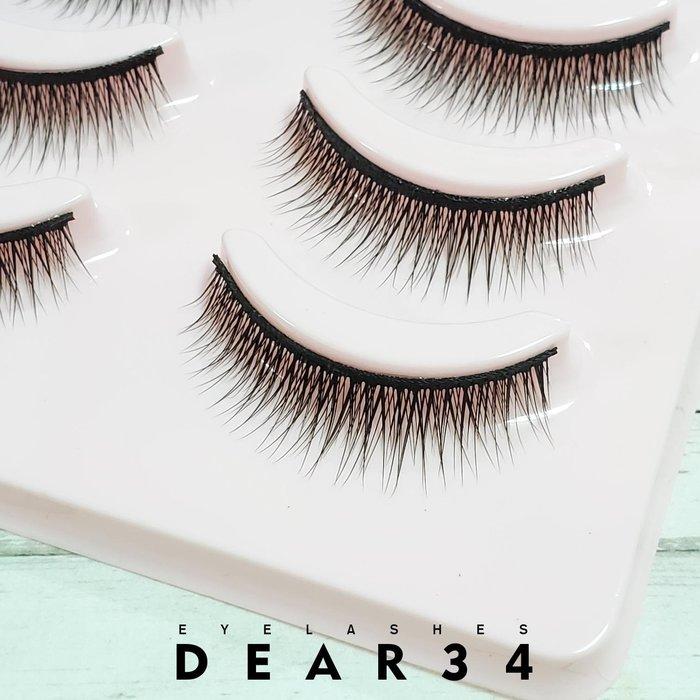 《Dear34》磨尖5B-7硬梗眼中長自然交叉短款0.9cm 純手工編織假睫毛一盒五對入