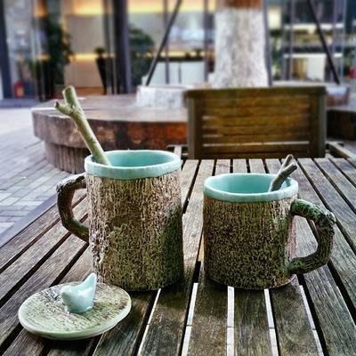 時間,這條溫柔的長河 日式文藝馬克杯子 帶蓋勺 仿樹皮陶瓷水杯MUYOU-B347