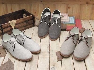 格子舖*【KV937】英倫學院風皮革包邊條紋布面兩孔綁帶休閒鞋 2色