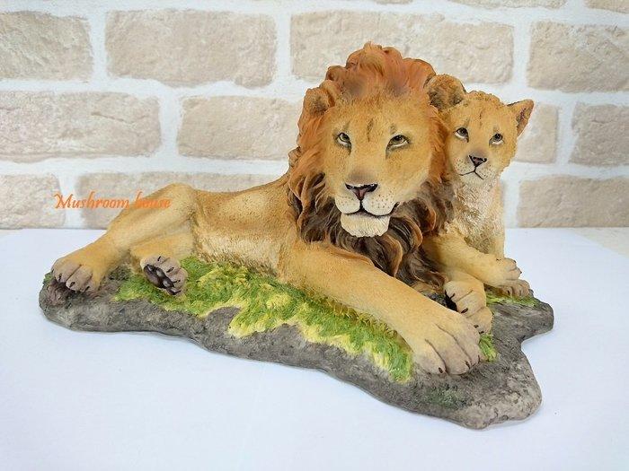 點點蘑菇屋 歐洲精品獅子父子擺飾 獅子王 野生動物 精品家飾 禮物 鄉村風雜貨 現貨 免運費