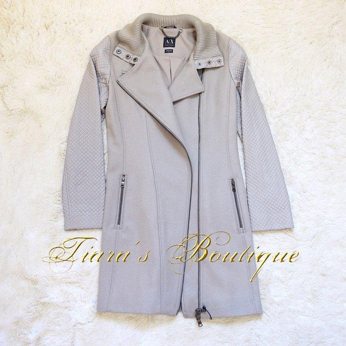 A X ARMANI EXCHANGE 羊毛X皮質機車騎士大衣 Perfecto 運動風 紫藕色 含吊牌新品 (333)
