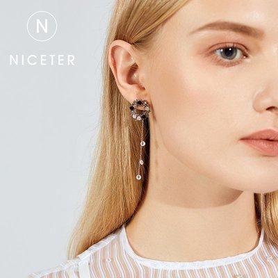 SWEET COVE~一款兩戴流蘇顯臉瘦耳環女百搭個性氣質長款水晶耳墜一式兩戴耳釘