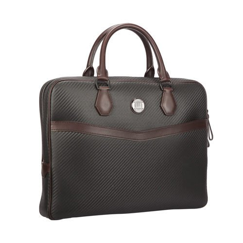 【姊只賣真貨】dunhill 素色皮革斜紋金屬方扣公事包手提包(黑色)