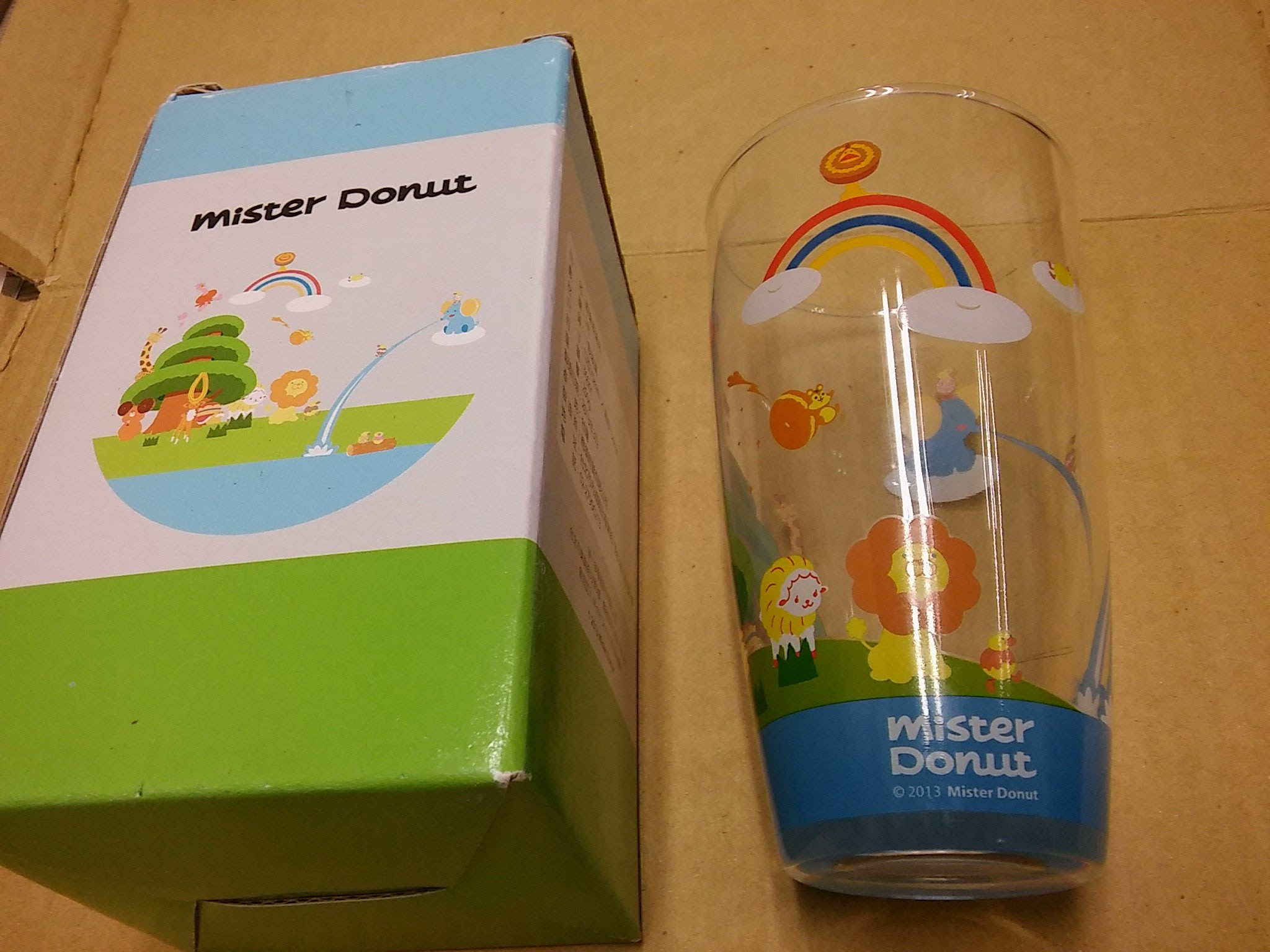 [KW18] (全新未使用) Mister Donut 多拿滋甜甜圈/2013歡樂玻璃水杯