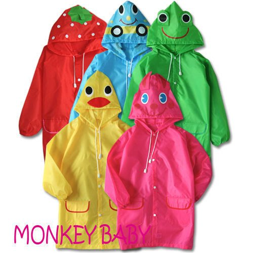 全館滿699免運【MONKEY BABY 】出口日本原單 卡通動物造型兒童雨衣現貨特價145元