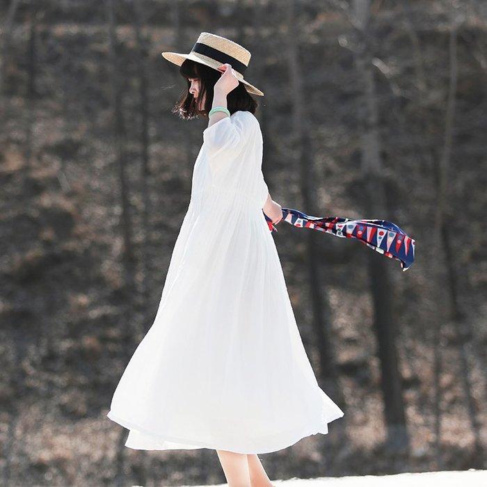 【鈷藍家】棉麻臆想 知遇文藝輕盈薄透清澈不食人間煙火的白色連身裙 高端100支苧麻寬鬆長裙