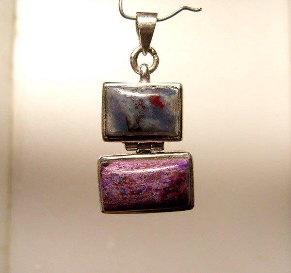 小風鈴~天然頂級 紫紅.藍色 舒俱徠石純銀墜飾