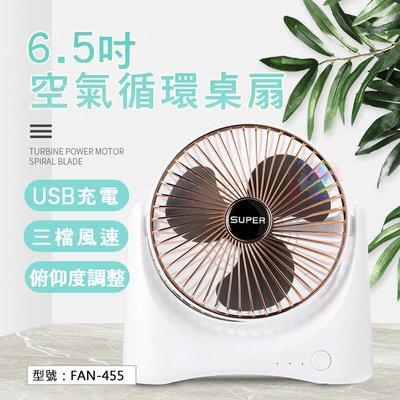 【小風扇】usb充電式 6.5吋空氣循環桌扇 上下仰角 可充電 循環扇 桌扇 fan-455_gd-he