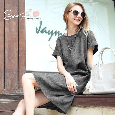 【V1552】SMILE-歐美時尚‧修身圓領寬鬆短袖連身裙