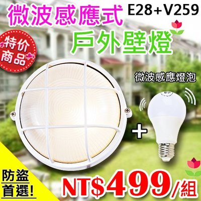 【EDDY燈飾網】(EE28+V259)微波感應壁燈 LED-12W 白光 井字 適用於室外造景/緊急照明/防盜推薦!
