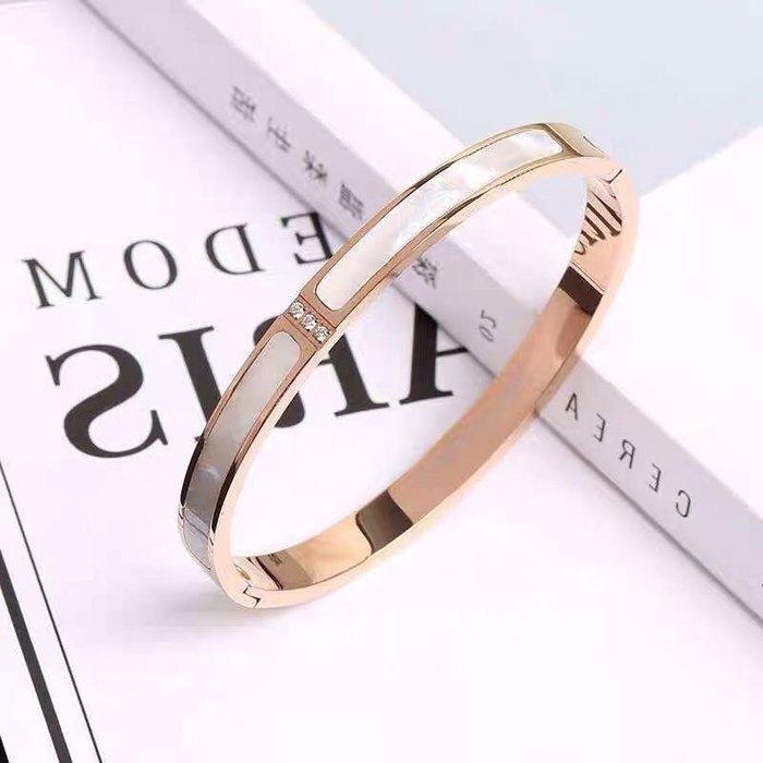 💎208、玫瑰金鑲嵌珍珠母貝手環💎