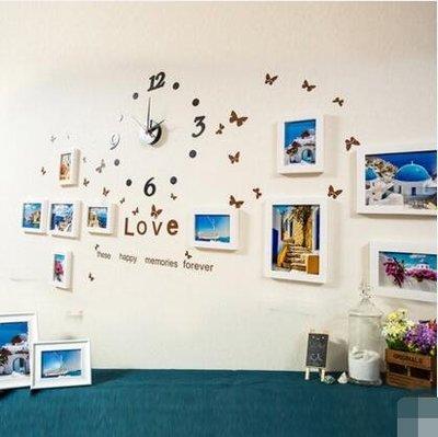 實木照片牆相框牆客廳小牆面掛牆歐式創意組合11框【全白/地中海(時尚宜家)】