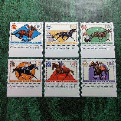 【大三元】紐澳郵票-040紐西蘭 --賽馬-新票6全1套帶邊紙-原膠上品