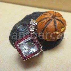 琥珀貓銀飾DIY【925純銀飾品】墜飾~A0909~鋯石方塊含墜圈~一個