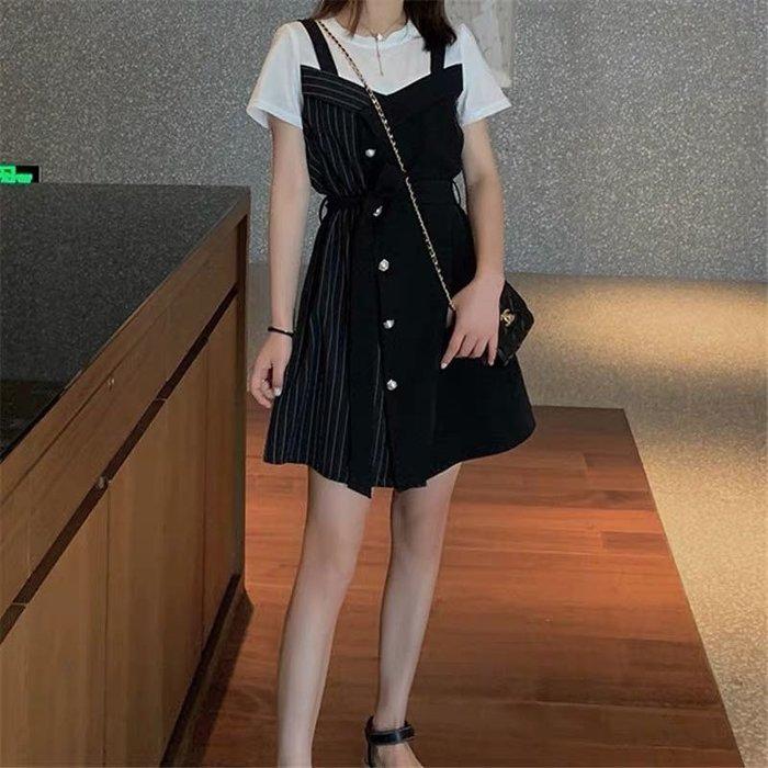 韓版氣質收腰顯瘦條紋假兩件連身裙洋裝