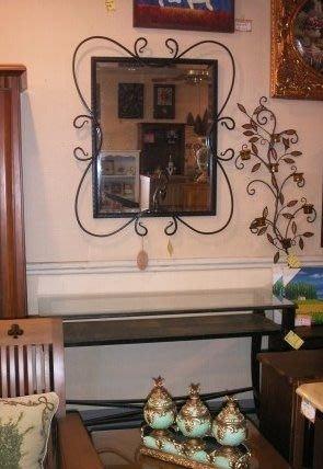 OUTLET限量低價出清-鍛鐵玄關桌鏡整組--僅限一組---促銷 優惠 9500元