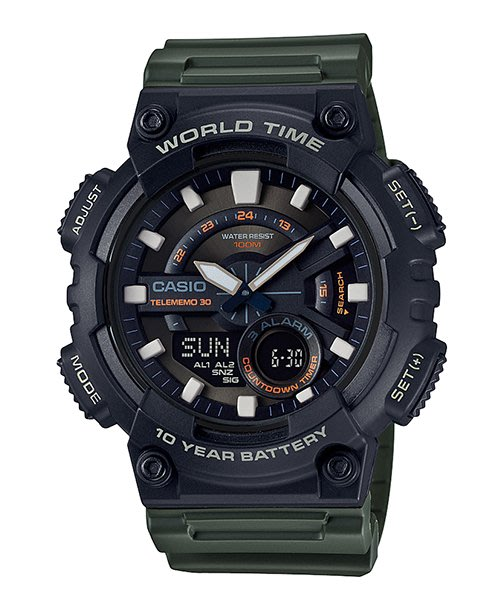 [ㄚ寶3C ] CASIO AEQ-110W-3A 世界地圖.防水100米.雙顯運動錶.AEQ-110W