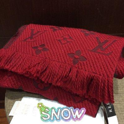 未使用LV LOUISVUITTON路易威登 經典logo緹花紅色圍巾 刷卡24期 joey7117