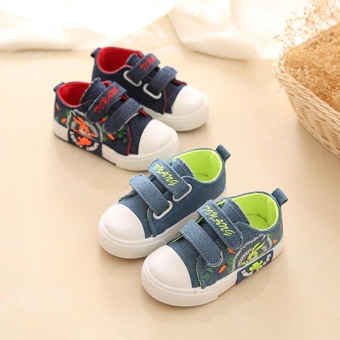 小童軟底牛仔布單鞋 男童男寶寶魔術貼帆布鞋女童鞋休閒鞋子0-4歲