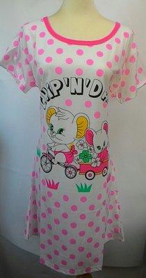 ~~圃圃媽~~印花短袖休閒連身睡衣裙..家居服,舒適柔軟,居家外出, 100 件