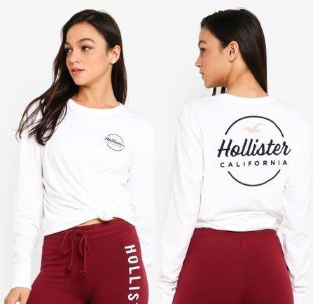 HCO Hollister 海鷗 長袖 T恤 女生 前後圖騰 白色