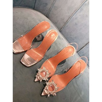 Amina Muaddi 透明尖頭水鑽高跟鞋 跟高 8.5cm  35~39碼