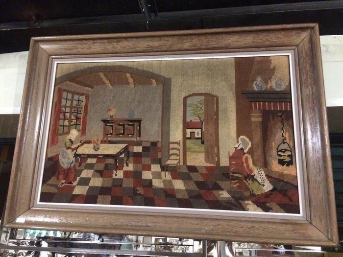 【卡卡頌 歐洲跳蚤市場 / 歐洲古董 】比利時老件_歐洲屋景 手工針織 十字繡 掛畫 pa0133