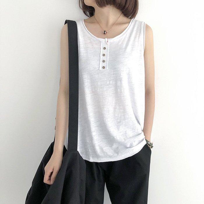 四色-夏裝寬鬆顯瘦圓領單排扣竹節棉吊帶背無袖上衣