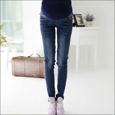 四季 深藍刷色造型 時髦顯瘦托腹牛仔褲【J713】維琪衣坊孕婦娃娃裝