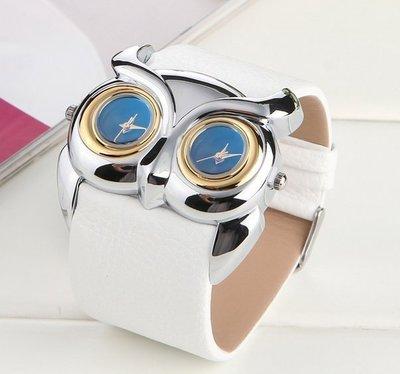 熱賣時尚PU帶手錶復古貓頭鷹雙錶盤雙機芯防水運動手錶#7717