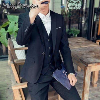 【現貨】 西裝 韓版  伴郎 西裝外套 西裝背心 西裝褲 商務西裝三件套  R1665