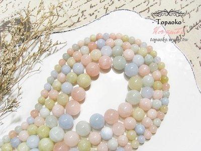 天然石DIY串珠·天然莫桑比克糖果摩根石圓珠【F9722-1】約12.5mm條珠手鍊項鍊飾品《晶格格的多寶格》