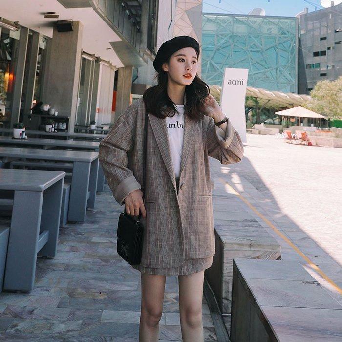 衣萊時尚格子小西裝套裝女春新款韓版休閑英倫西服外套短裙兩件套