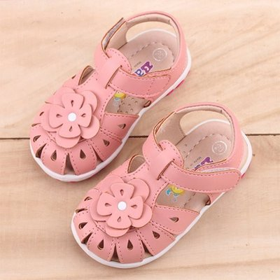 Ovan 女童 MIT護趾雕花真皮手工 涼鞋 學步鞋 寶寶鞋 嬰兒鞋 粉色