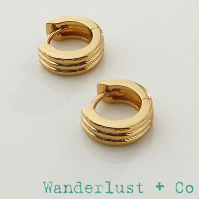 Wanderlust+Co 澳洲品牌 簡約圓形耳環 立體三層設計 Triple Band Baby Huggie 台北市