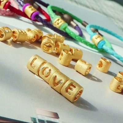 黃金潘朵拉 情人節 告白  3D硬金 英文手環 數字168加黑色皮繩
