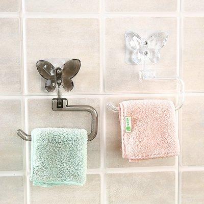 仿水晶蝴蝶粘貼毛巾架廚房抹布掛架衛生間免打孔掛毛巾架子