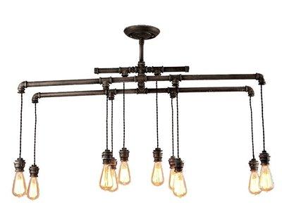 Brutal 工業風 粗曠 創意 復古 水管 LOFT 客廳 吊燈 燈飾 (10燈泡款)
