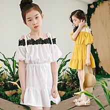 中大童 優質 女童【Q寶童裝】夏款 SS-033 純棉氣質露肩一字肩公主裙 連身裙 洋裝